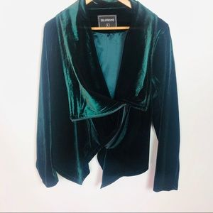 Blank NYC • Green Velvet Asymmetrical Wrap Jacket